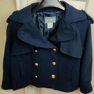 Delia's Navy Blue Pea Coat With Gold Buttons